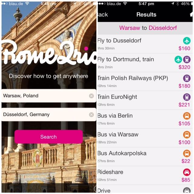Rome2Rio App Screenshot