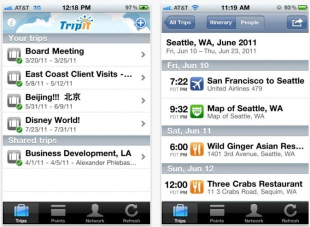 TripIt App Screenshot